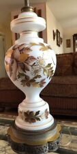 Vintage Germany Bristol Glass Table Lamp-White Glass W/Gold Painted Flowers