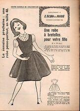 ▬► Patron Couture Supplément Écho de la Mode Robe Bretelles 8/10 ans N°42 1960