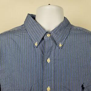 Ralph Lauren Classic Fit Mens Blue White Striped Dress Button Shirt Size XL