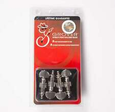 Grover Geared Banjo Pegs, Set of 4 Nickel, Metal buttons 119N