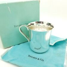Tiffany & Co. Maker Sterling Silver Classic 2.5' In Child Baby Cup w/ Pouch Box