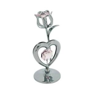 CRYSTOCRAFT CRYSTAL PINK ROSE AND HEART HEART ORNAMENT SP723