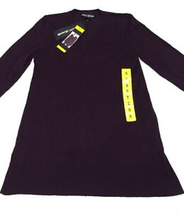 DKNY Jeans Womens Small V-Neck Soft Sweater Eggplant Purple Snagged