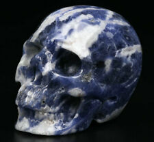 "2.0"" Sodalite Carved Crystal Skull, Realistic, Crystal Healing"