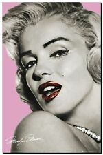 Marilyn Monroe QUALITY CANVAS PRINT Art Poster pink lips - A1 size