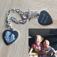 PERSONALISED PHOTO ENGRAVED HEART CHARM & BRACELET - GIFT