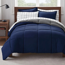Serta Reversible Comforter Set Simply Clean Full 7 Piece Bed in a Bag Blue New