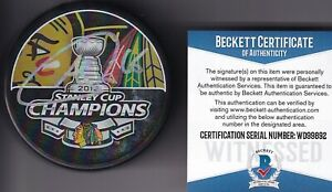 BECKETT ANDREW SHAW SIGNED CHICAGO BLACKHAWKS 2013 STANLEY CUP CHAMPIONS PUCK 92