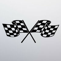 Chequered Flag Racing Car Sticker Vinyl Decal Van Window Bumper Bike Moped Vespa