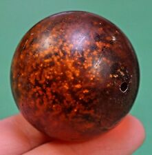 Antique German Drawn Amber Glass Marble Bead W/ Internal Sparkles African Trade