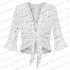 Ladies Women's Plus Size Lace Sequin ¾ Sleeve Bolero Tie up Top Shrug Cardigan 12-14 White