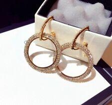 14k Gold GP Dangle Hoop Earrings made w/ Swarovski Crystal Pave Stone Gorgeous