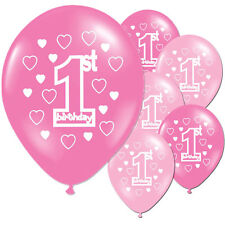 10 Pink Girls 1st Birthday Printed Pearlised Party Balloons