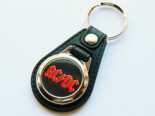 ACDC Classic Australian Rock Band Premium Leather & Chrome Keyring