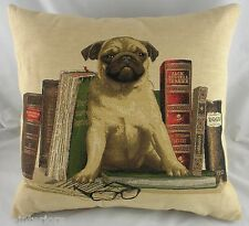 "18"" PUG BOOKENDS Puppy Dog Belgian Tapestry Cushion Evans Lichfield"