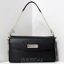 DKNY DONNA KARAN NEW YORK BLACK LEATHER CHAIN SHOULDER DOUBLE FLAP BAG HANDBAG