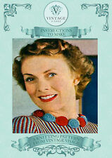 Vintage 1940s knitting pattern-how to make pretty & easy knitted flower necklace