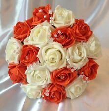 Artificial Ivory Orange Foam Rose Wedding Flowers Bouquet Bridesmaid Posie