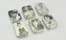 1 Set of 6 PCS Classic Audrey Hepburn Metallic Mini Rectangle Containing Tin Box