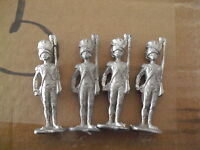 "Lot of 4 Vintage Lead Soldier Unpainted Figurines 2 1/2"" Tall"