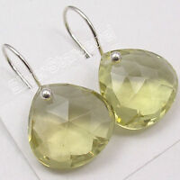"""925 Solid Silver FACETED LEMON QUARTZ HEART Earrings 1"""" NEW INDIAN JEWELRY"""