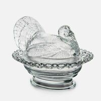 Mosser Glass Vintage Style Crystal Turkey on Basket or Covered Turkey 8 by 7