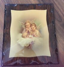 """Guardian Angels Over Baby Wall Picture Wood Plaque Art Vintage 10.5 x13"""""""