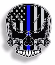 Blue Line Flag Skull Stickers Police Officer Thin American Car Truck Graphic USA