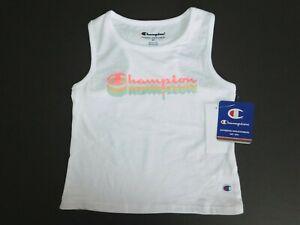 NWT Champion Toddler Girl's Logo Tank Top White Size 2T New Free Shipping