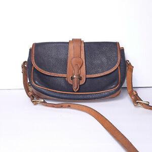 Dooney & Bourke Vintage 80s AWL Black Brown Leather Crossbody Purse Bag EUC USA