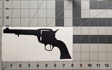 "Revolver Pistol - 9"" x 3.5"" - Black - Vinyl Decal Sticker - #014"