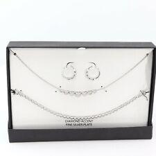 Macy's Diamond Accent Silver Core Heart Necklace Set C503
