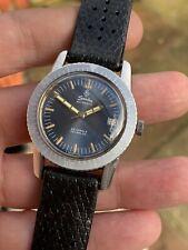 Vintage Sandoz Blue Dial Mens Diver Watch Automatic Swiss AS 1712/13 36mm
