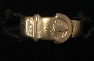 Antique Hallmarked 9ct Yellow Gold Bucke Ring Sz5