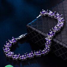 Silver Tone Flower Bracelet Jewelry Unique Women Engagement Amethyst Crystal