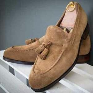 Handmade Men's Genuine Beige Suede Loafer Moccasin Tasels Shoes UK449