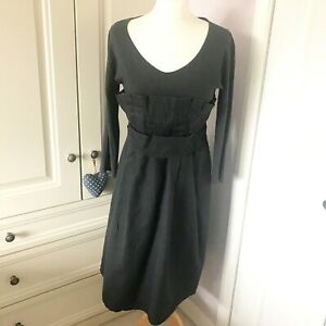'S Max Mara Navy Blue Paperbag Style Dress Size L Design for Easy Living