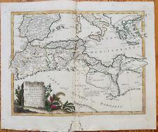 Zatta Large Original Map Northern Africa Mediterranean Sea - 1779