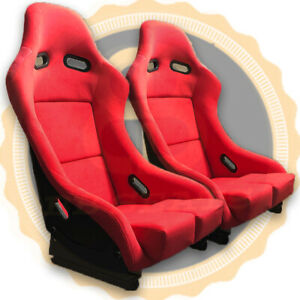 Pair RED BB5 LARGE Racing Fibreglass Sports Bucket Seat + Side Mounts & Runners