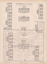 Stettin Szczecin Krankenhaus Grundriss HOLZSTICH von 1875 Architektur