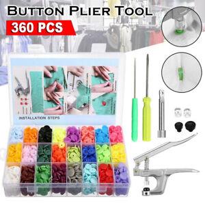 24 Colours 1500 Set KAM Snaps Snap Starter Plastic Poppers Fasteners 1 Plier Kit