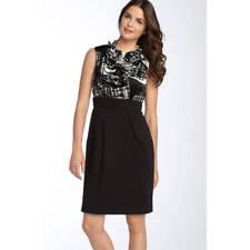 Max & Cleo Ruffle Bodice Mock 2-Piece Dress Black & White 12