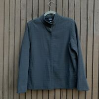eileen fisher Black Full Zip Jacket Light Nylon Blend Jacket Size Large Petite
