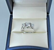 14K White Gold Fn 3 Stone 2Ct Round Real Moissanite Solitaire Engagement Ring
