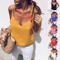 Womens Summer Chiffon Sexy- Neck Basic Solid Blouse Tops Shirts Crop Vest Tops