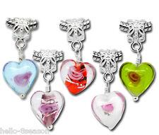 100 Mixed Dangle Beads Glass Heart Fit Charm Bracelet