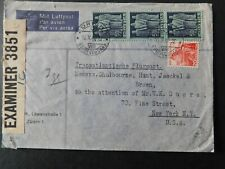 """SWITZERLAND - 1942 """" CENSORED AIRMAIL COVER To USA From ZURICH """""""