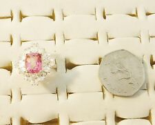 DIAMANTE SUROUND FACETED PINK TOPAZ SILVER 925 RING SIZE O REALLY GOOD CONDITION