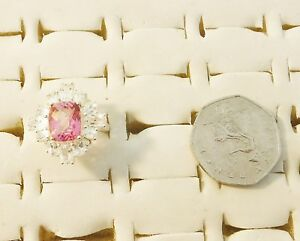 EXQUISITE COOL DIAMANTE SUROUND FACETED PINK TOPAZ SILVER 925 RING SIZE O