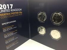 2017 PETER RABBIT Completed Set 50p x 4 coins Pack  Brilliant Uncirculated